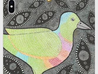 帯なし手帳型iPhoneケース/スマホケース/ムネアカアオバト/鳥の画像