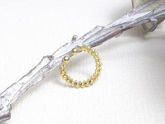 ガラス×メタル バイカラーイヤーカフS(ゴールド)  I0096の画像