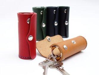縦置きできる円筒型キーケース Mini【受注生産 本革製 革5色・糸10色】の画像