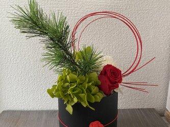 ミズヒキポット・お正月アレンジ【プリザ+造花】の画像