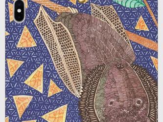 帯なし手帳型iPhoneケース/スマホケース/クビワオオコウモリの画像