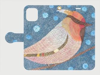 手帳型iPhoneケース/スマホケース/キレンジャク/鳥の画像