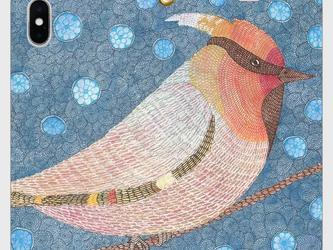 帯なし手帳型iPhoneケース/スマホケース/キレンジャク/鳥の画像