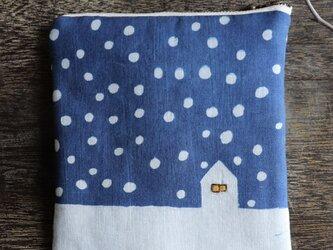 再出品 藍染め ポーチ 「雪降る日」の画像