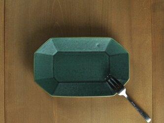 八角長7寸皿/緑の画像