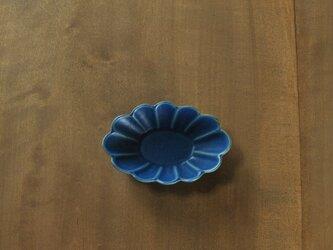 輪花楕円4寸鉢/青の画像