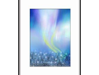 「瞳で叙情詩を書いて非日常へ」 オーロラ 冬 ほっこり癒しのイラストA4サイズポスター No.762の画像