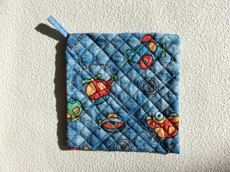 鍋つかみ 正方形 ブルー 乗り物 おうち時間の画像