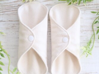 【冬用 温活】オーガニックコットン100%ネル/両面使える布ナプキンライナー(無地きなり)/おりもの/2枚セットの画像