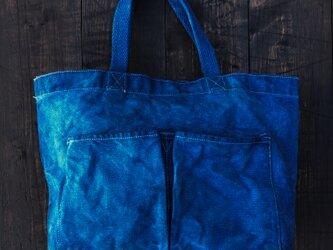 正藍染キャンバストートバッグ 46㎝×31㎝×14㎝の画像