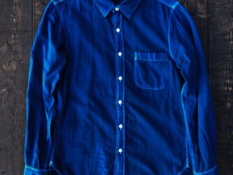 正藍染ガーゼシャツ Ssizeの画像