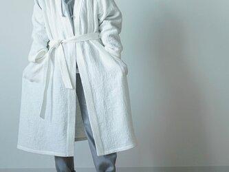 【Lサイズ】【wafu】ワッフル リネン ガウン linenローブ /ホワイト r012a-wht3-lの画像