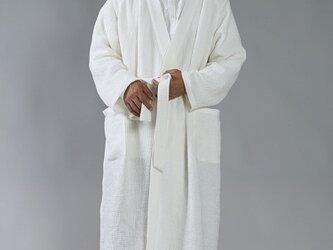 【Lサイズ】【wafu】ワッフル リネン ガウン linenローブ /ホワイト r012b-wht3-lの画像