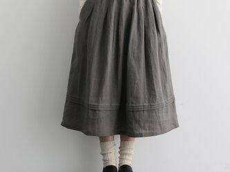 風合い年中愛用リネンスカート ロングスカート タック入りスカート アッシュグレー201206-3の画像
