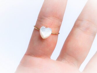 ぷちっと♡シンプル 白蝶貝 Ring 14KGF or Silver の画像