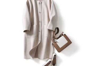 毎日着たい ノーカラー襟コート ウール  ボンディング生地 ロングコート201210-2の画像