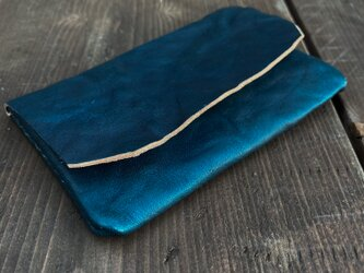 正藍染レザーカードケース(一枚革)の画像