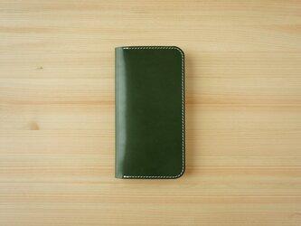 牛革 iPhone 12 mini カバー  ヌメ革  レザーケース  手帳型  グリーンカラーの画像