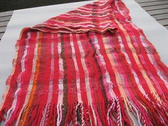 手織り 大判ショール SHA103A 赤系 シルク ウール アンゴラ 防寒 強撚糸の画像