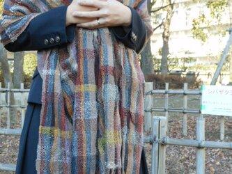 手織り 大判ショール SHA106A 茶系 シルクウール カシミア 防寒 強撚糸 男女共用 チェック柄 プレゼントの画像