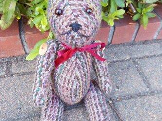 手織り テディベア ZAK104A 女の仔ぐま ぬいぐるみ オリジナル織生地の画像