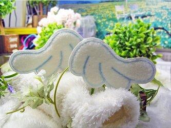 天使の羽根★もこもこ★アイロンワッペン★青糸12-2枚セットの画像