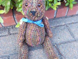 手織り テディベア ZAK103A 男の仔クマ ぬいぐるみ チェック柄 プレゼントの画像