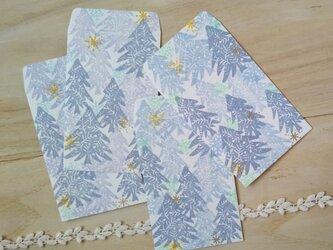 消しゴム版画「ポチ袋(冬の景色)」の画像