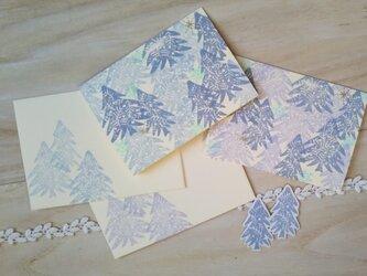 消しゴム版画 カードのセット(冬の景色)の画像