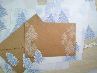 消しゴム版画「コンパクトサイズレターセット(冬の景色)」の画像