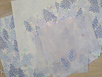 消しゴム版画「レターセット(冬の景色)」の画像