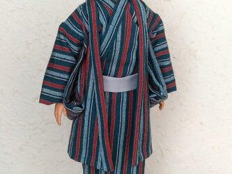 「青緑の縞柄の着物」30cm男子ドール着物と羽織りの画像