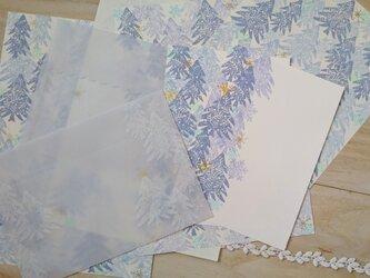消しゴム版画「レターセット・ポストカードのセット(冬の景色)」の画像