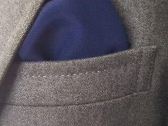 藍染 シルクポケットチーフ 紺藍の画像