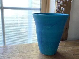 花瓶 ターコイズブルーlの画像