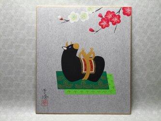 日本画色紙 「丑年飾り」の画像