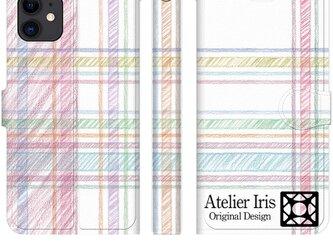 チェック柄 色鉛筆 赤 iPhone 手帳型 スマホケース 携帯ケース 送料無料の画像