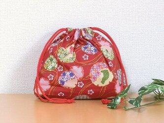 巾着袋 柄あそび 雪輪猫×毬 小物収納 エコバッグ ギフトラッピング素材としてもの画像