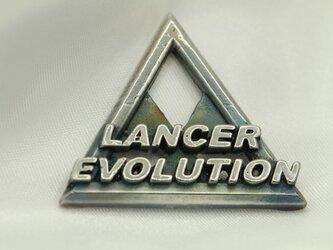 ランエボ三菱マークキーホルダー高級希少金属コバルト製の画像