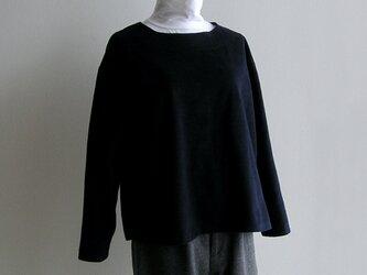 播州織コットン*ゆったりシルエットのプルオーバー(紺色・起毛ツイル生地)の画像