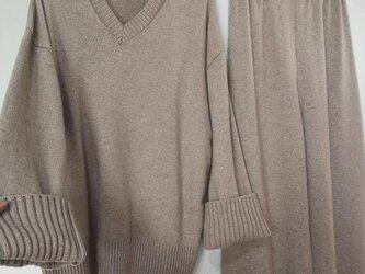 【受注製作】カシミアセット・トップス+ボトムス(スカート、ズボン選択可能) ニット オーダーメイド 豊富な色 TP-1の画像