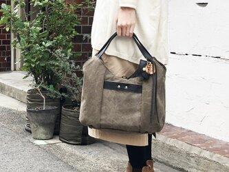 tanton-mini_オリーブ(タンニン染め帆布×レザーバッグ)の画像