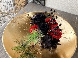 お正月アレンジ★錦ゴールド★【プリザ+造花】の画像