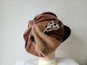 魅せる帽子☆ふんわり♪大きめグラデーションキャスケット~キャメル&ブラウンの画像