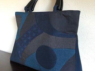 紬の切り嵌め 三角マチの手提げ の画像