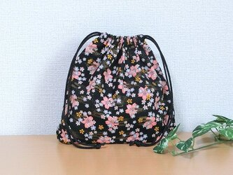 巾着袋 横長形 黒色金彩桜 小物収納 プレゼントにもの画像