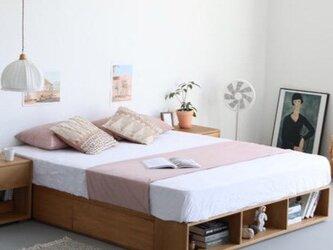 受注生産 職人手作り ベッド 引き出し 収納ベッド スノコ 天然木 家具 セミダブル 木目 無垢材 エコ LR2018の画像