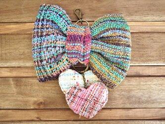 手織り ビッグリボンキーリングの画像