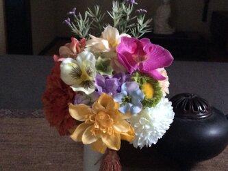仏花   真珠の涙  柑   (仏花、造花、お供え、お盆、お彼岸、敬老の日)の画像