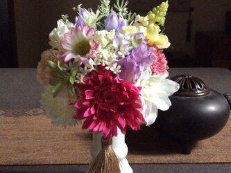 仏花   真珠の涙  愛  (仏花、造花、お供え、お盆、お彼岸、敬老の日)の画像